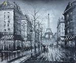 PARIS EIFFEL TOWER IN THE YEAR 1920 20x24' OIL PAINTING 001