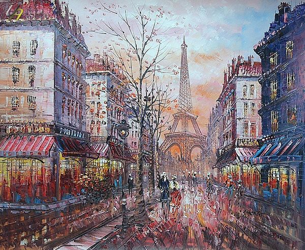 PARIS EIFFEL TOWER IN THE YEAR 1920 20x24' OIL PAINTING
