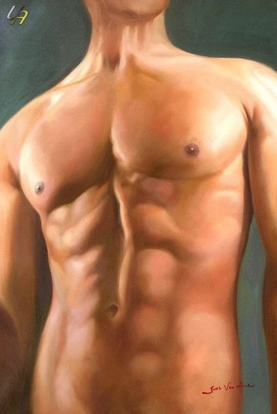 MODERN ART MALE STANDING NUDE ART 24x36' OIL PAINTING – image 1