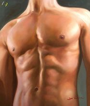 MALE NUDE ART ORIGINAL OIL PAINTING 20x24 HAND PAINTED 001