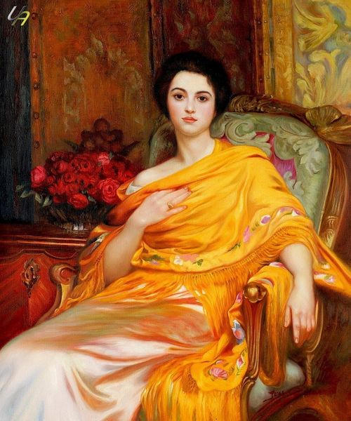 SIR FRANK DICKSEE PORTRAIT LADY ELSA 20x24 OIL PAINTING – image 1