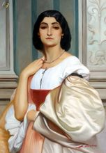 "LORD FREDERIC LEIGHTON ROMAN LADY 24X36"" OIL PAINTING 001"