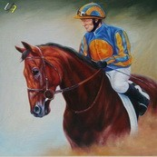 "MODERN ART PORTRAIT OF JOCKEY ON HORSE 32X32"" PAINTING – image 2"