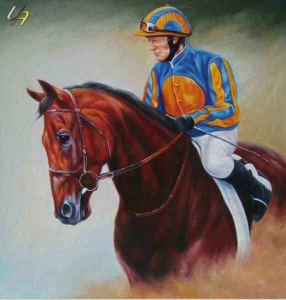 "MODERN ART PORTRAIT OF JOCKEY ON HORSE 32X32"" PAINTING – image 1"