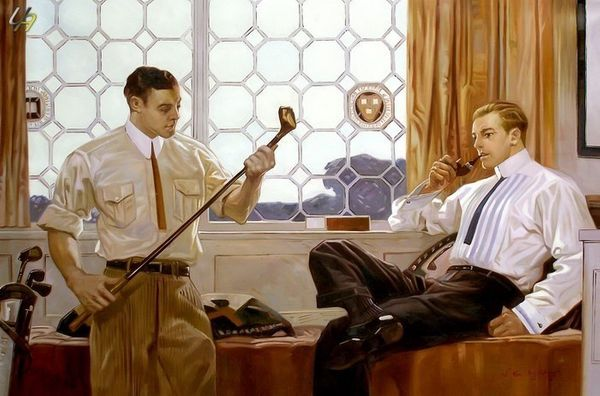 GENTLEMEN IN THE GOLF CLUB ORIGINAL OIL PAINTING 48X72