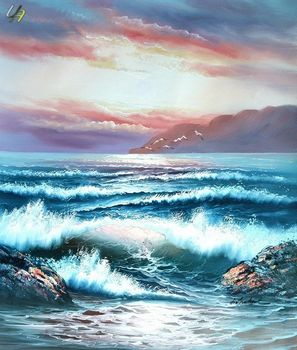 WAVES BREAKING ON CLIFF 20X24 ON CANVAS – image 1