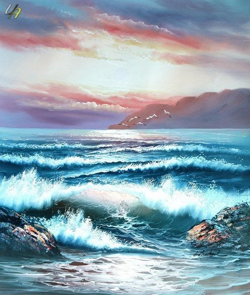 WAVES BREAKING ON CLIFF 20X24 ON CANVAS