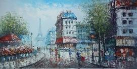 "MODERN ART PARIS EIFFEL TOWER IN THE YEAR 1920 24X48"" OIL PAINTING ORIGINAL – image 2"