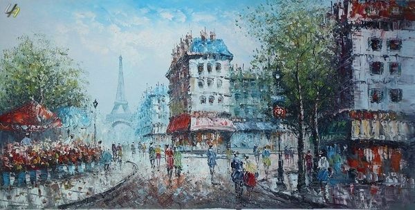 "MODERN ART PARIS EIFFEL TOWER IN THE YEAR 1920 24X48"" OIL PAINTING ORIGINAL – image 1"