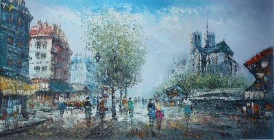 "PARIS NOTRE DAME 1920 24X48"" OIL PAINTING ORIGINAL CONTEMPORARY ART – image 1"