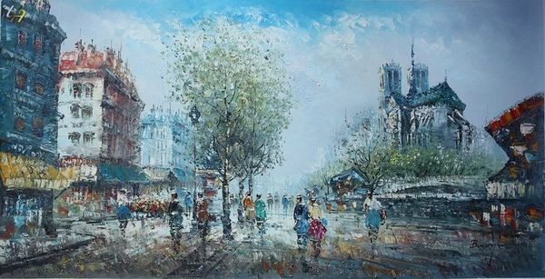 "PARIS NOTRE DAME 1920 24X48"" OIL PAINTING ORIGINAL CONTEMPORARY ART"