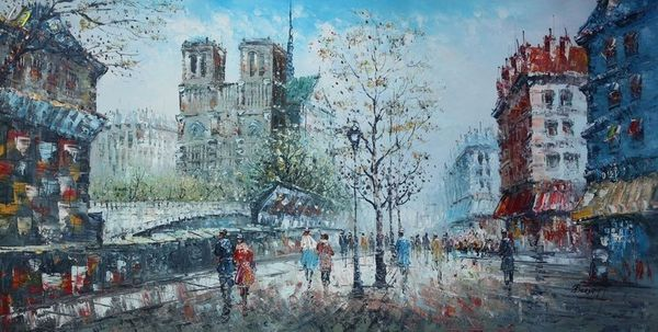 "PARIS NOTRE DAME 1920 24X48"" OIL PAINTING ORIGINAL CONTEMPORARY MODERN ART"