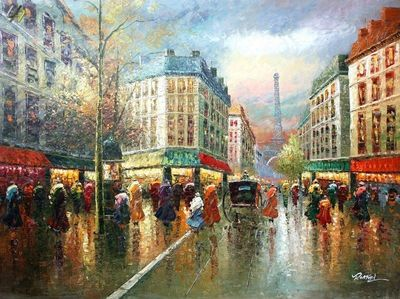 "PARIS EIFFEL TOWER ANNO 1920 36X48"" LARGE OIL PAINTING ORIGINAL CONTEMPORARY MODERN ART"