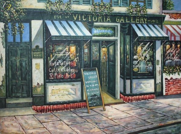 "PARIS VICTORIA GALLERY 36X48"" LARGE OIL PAINTING ORIGINAL CONTEMPORARY MODERN ART – image 1"