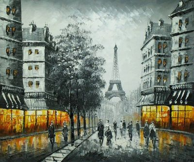 "PARIS EIFFEL TOWER AT DUSK 20X24"" OIL PAINTING – image 1"
