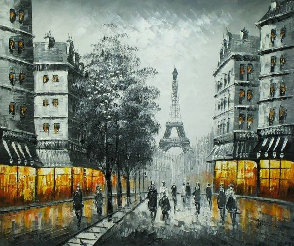 "PARIS EIFFEL TOWER AT DUSK 20X24"" OIL PAINTING"