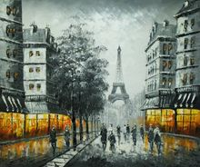 "PARIS EIFFEL TOWER AT DUSK 20X24"" OIL PAINTING 001"