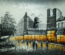 "PARIS MOULIN ROUGE IN THE EVENING 20X24"" OIL PAINTING 001"