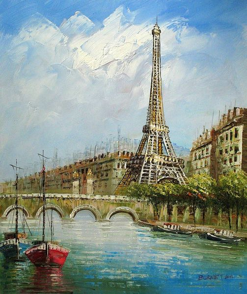 "PARIS SEINE AND EIFFEL TOWER 20X24"" OIL PAINTING"