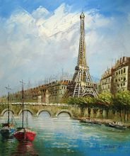 "PARIS SEINE AND EIFFEL TOWER 20X24"" OIL PAINTING 001"