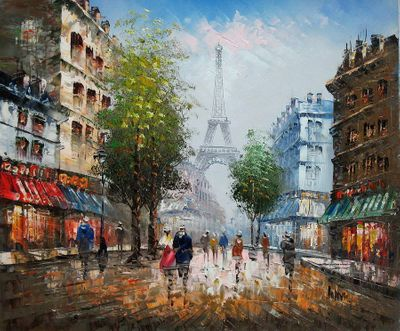 "PARIS EIFFEL TOWER IN THE YEAR 1910 20X24"" FRENCH OIL PAINTING"