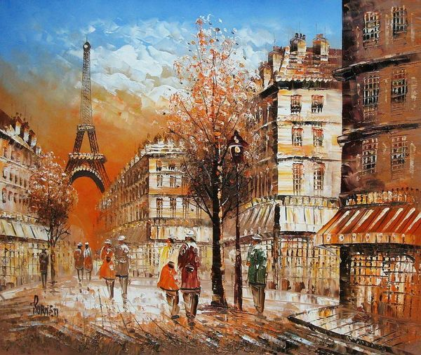 "PARIS IN AUTUMN 20X24"" OIL PAINTING"