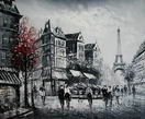 "PARIS EIFFEL TOWER B/W 20X24"" FRENCH OIL PAINTING – image 2"