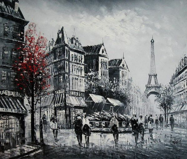 "PARIS EIFFEL TOWER B/W 20X24"" FRENCH OIL PAINTING"