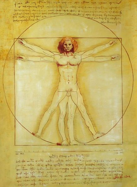"LEONARDO DA VINCI STUDY PROPORTION 32X44"" OIL PAINTING QUALITY"
