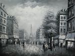 "PARIS EIFFEL TOWER B/W 36X48"" OIL PAINTING 001"