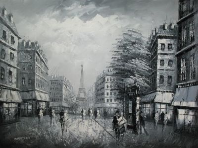 "PARIS EIFFEL TOWER B/W 36X48"" OIL PAINTING"