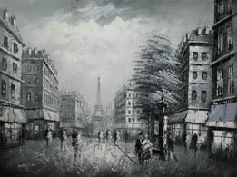 "PARIS EIFFEL TOWER B/W 36X48"" OIL PAINTING – image 2"