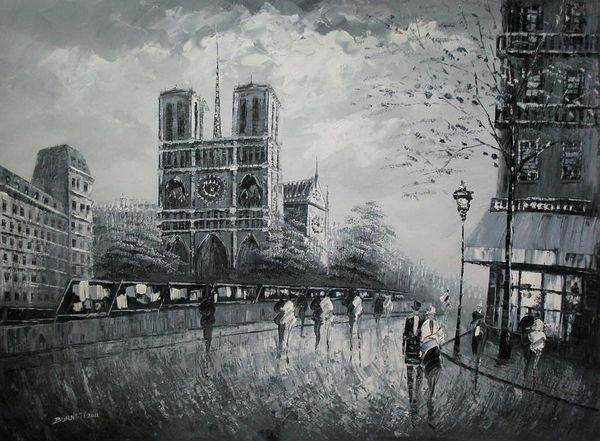 "PARIS NOTRE DAME B/W 36X48"" OIL PAINTING – image 1"