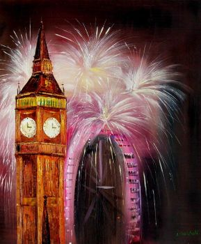 "BIG BEN & LONDON EYE FIREWORKS 20X24"" ORIGINAL OIL PAINTING ""LONDON EDITION"" – image 1"