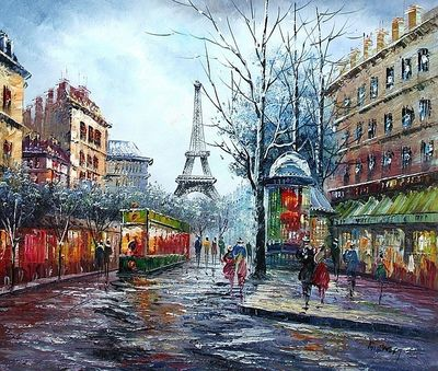 "PARIS THE EIFFEL TOWER IN THE YEAR 1910 20x24"" OIL PAINTING ORIGINAL"