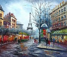 "PARIS THE EIFFEL TOWER IN THE YEAR 1910 20x24"" OIL PAINTING ORIGINAL 001"