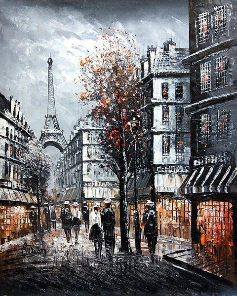 "PARIS HE EIFFEL TOWER 1920 20x24"" OIL PAINTING ORIGINAL FRENCH ART"