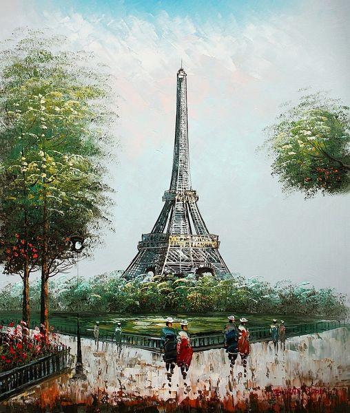 "PARIS STROLL BY EIFFEL TOWER 20X24"" OIL PAINTING ORIGINAL FRENCH ART"