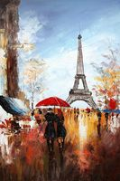 "PARIS STROLL BY EIFFEL TOWER 24x36"" OIL PAINTING ORIGINAL CONTEMPORARY ART 001"