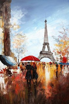 "PARIS STROLL BY EIFFEL TOWER 24x36"" OIL PAINTING ORIGINAL CONTEMPORARY ART"