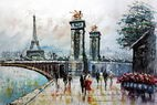 "PARIS STROLL BY EIFFEL TOWER 24X36"" OIL PAINTING ORIGINAL CONTEMPORARY ART – image 2"