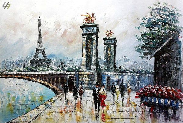 "PARIS STROLL BY EIFFEL TOWER 24X36"" OIL PAINTING ORIGINAL CONTEMPORARY ART – image 1"