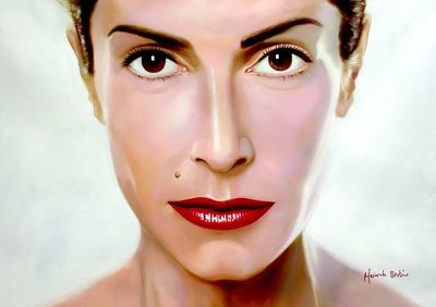 "ANNA VISSI POP ART 32X44"" OIL PAINTING PORTRAIT"