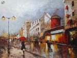 "PARIS STROLL BY MOULIN ROUGE 36x48"" OIL PAINTING ORIGINAL CONTEMPORARY ART 001"