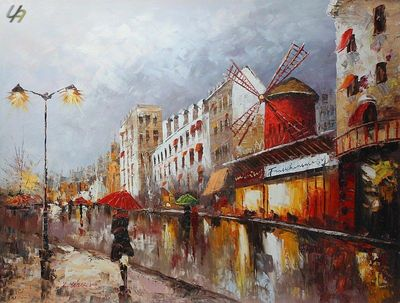 "PARIS STROLL BY MOULIN ROUGE 36x48"" OIL PAINTING ORIGINAL CONTEMPORARY ART – image 1"