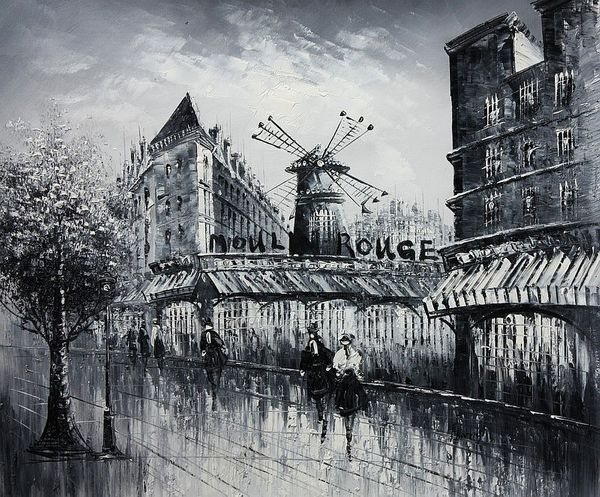 "PARIS MOULIN ROUGE B/W 20x24"" OIL PAINTING ORIGINAL"