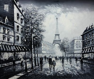 "PARIS EIFFEL TOWER B/W 20X24"" OIL PAINTING ORIGINAL"