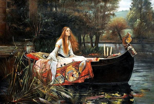"""JOHN WILLIAM WATERHOUSE LADY OF SHALLOT 1888 24X36"""" OIL PAINTING MUSEUM QUALITY – image 1"""