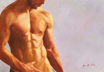 "MODERN ART MALE STANDING NUDE ART 32X44"" OIL PAINTING ORIGINAL – image 1"