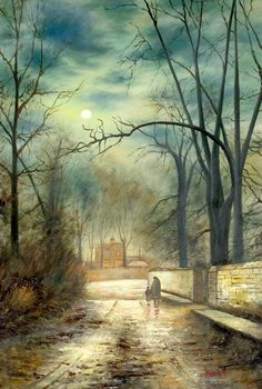 "JOHN ATKINSON GRIMSHAW MOONLIT LANE 24X36"" OIL PAINTING REPRODUCTION – image 1"